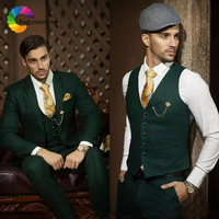 Dark Hunter Green Men Suits Wedding Suits Blazer Custom Made Slim Fit Formal Groom Tuxedo Best Man Prom Terno Masculino 3 Pieces