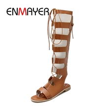 ENMAYER New Arrival summer knee high women lace-up sandals lady casual shoes  ZYL187