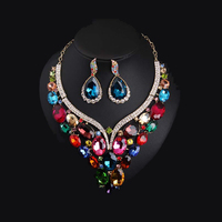 New Luxury Gold Plated Colorful Crystal Dubai Bridal Jewelry Set For Brides Necklace Earring Wedding Party