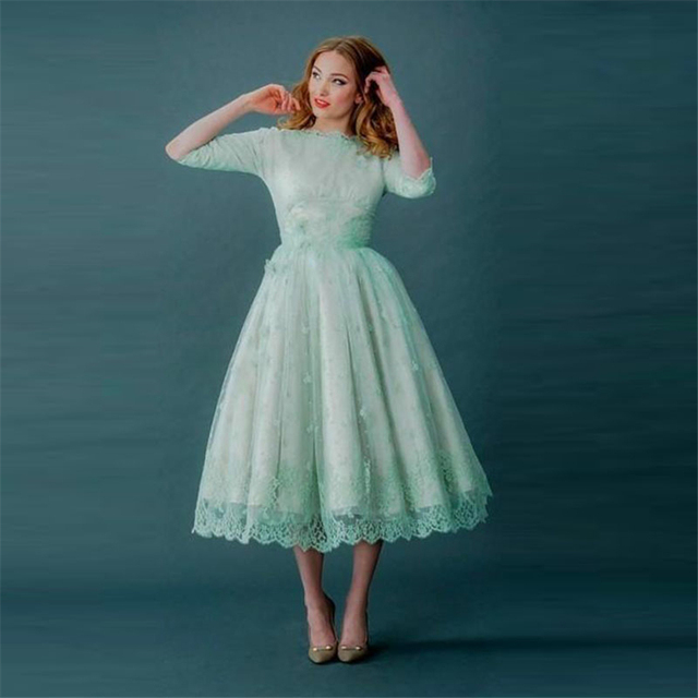 Tea Length Vintage Prom Dress Half Sleeves Mint Green Lace Party ...