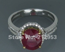 Vintage 4.42Ct Solid 14kt Multi Tone Yellow&White Blood Red Ruby Ring, Diamond Natural Red Ruby Engagement Ring Diamond Jewelry