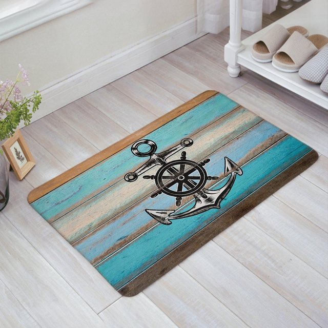 CHARMHOME Vintage Nautical Anchor Blue Grey Rustic Old Barn Wood Doormat  Welcome Mat Entrance Mat Indoor