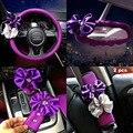 2016 personalizada diamante bowknot freno de mano del coche agarre gear shift collares cinturón de seguridad shouldersleeve pads cubre volante