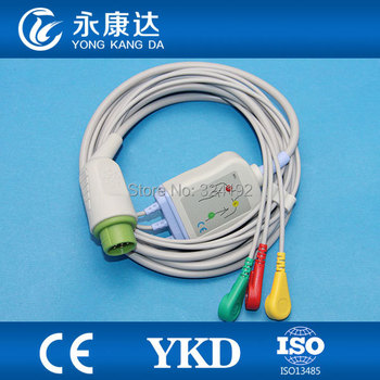 3pcs Konron12pin one-piece ECG cable with 3 lead,snap / IEC, CE&ISO13485, Free shipping!