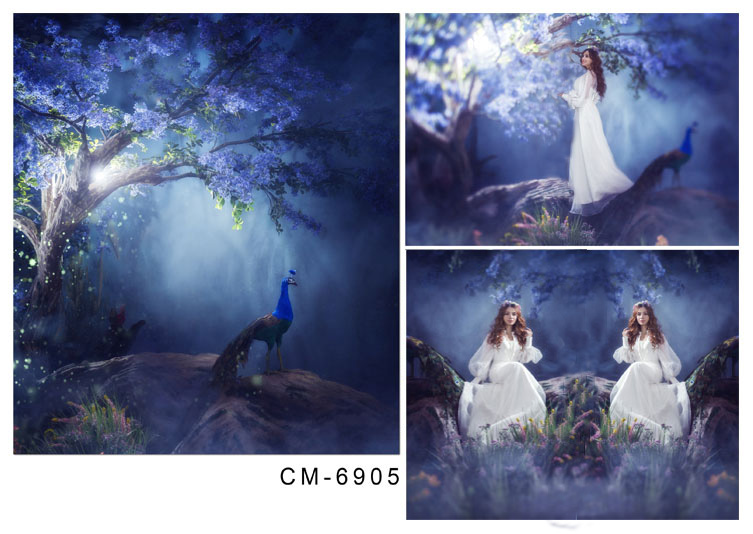 Artistic backdrop fairy and peacock in fantastic forest vinyl photography backdrops for girls photo studio background photophone conflicts in forest resources usage and management