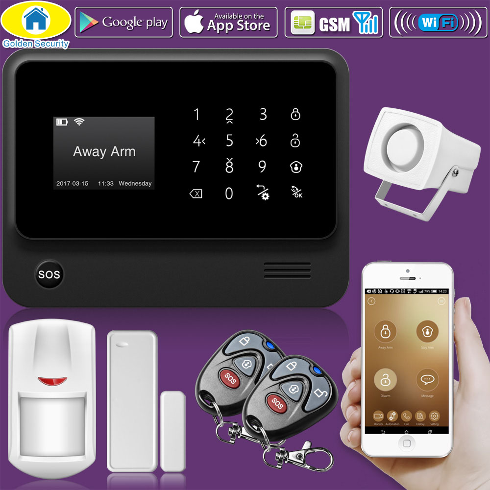 Golden Security G90B WiFi GSM 2G Wireless Wired Home Security Alarm System PIR Motion Sensor Russian Stock
