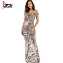 IDress صور حقيقية بلوزات غير مغطية للكتف الذهب الأسود الترتر فستان نسائي بدون حمالات حفلة رسمية فستان مثير طول الأرض