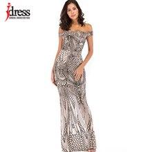 Idress 리얼 포토 오프 숄더 블랙 골드 스팽글 드레스 여성 strapless 공식 파티 드레스 섹시한 드레스 플로어 길이 드레스