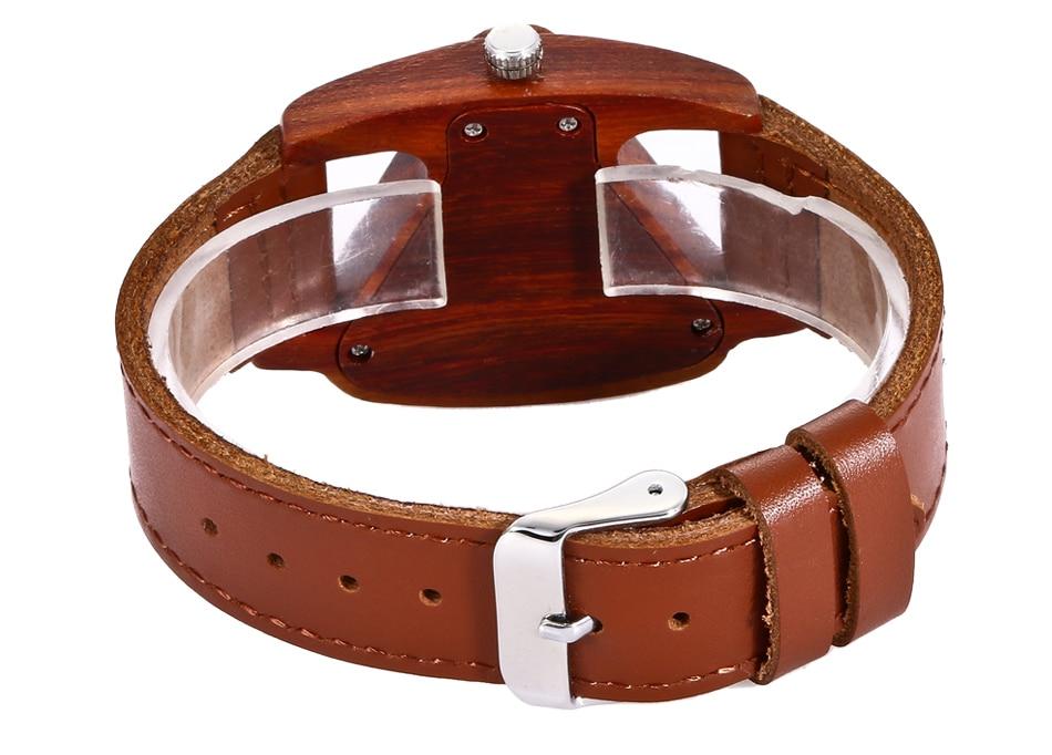 ALK leather strap female male wooden wristwatch 37