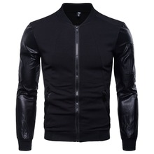 Man Hoodies with PU Lone sleeve Coat Men All Season Warm Wearing Zipper Loose style Clothes M-3XL British Style