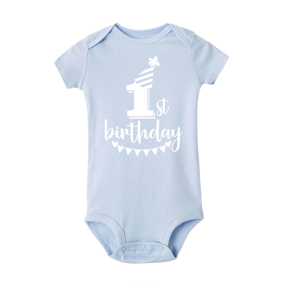 My First Birthday Letter Print Newborn Cotton Baby Short Sleeve Baby Rompers Girls Boys Clothes Baby Boy Clothing Set 0-24M