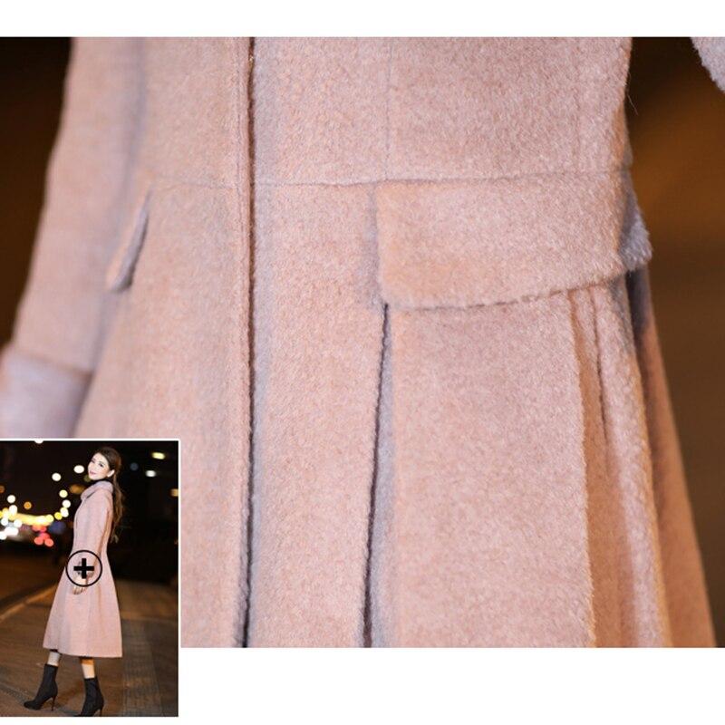 Lf764 Laine D'hiver Haute Élégant De Wool Nouvelle Veste Long 2018 Mélange Mince Femme Qualité Cachemire Vestes Manteau Coat Femmes Manteaux Cardigan Pink E8wUSqC