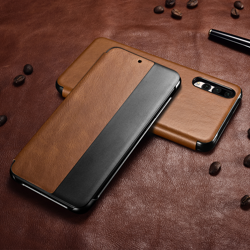Vintage Genuine Leather Case For Huawei P20 Pro Luxury Auto Wake Sleep Smart Flip Case Cover