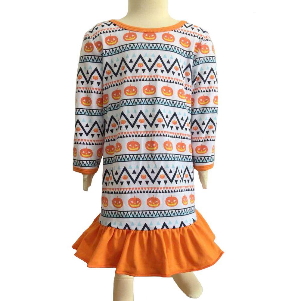 Girls Halloween orange Pumpkin Night Gown Doll Night Gown Dress Matching Doll and Me Set Doll Pajamas Girls Christmas Dress