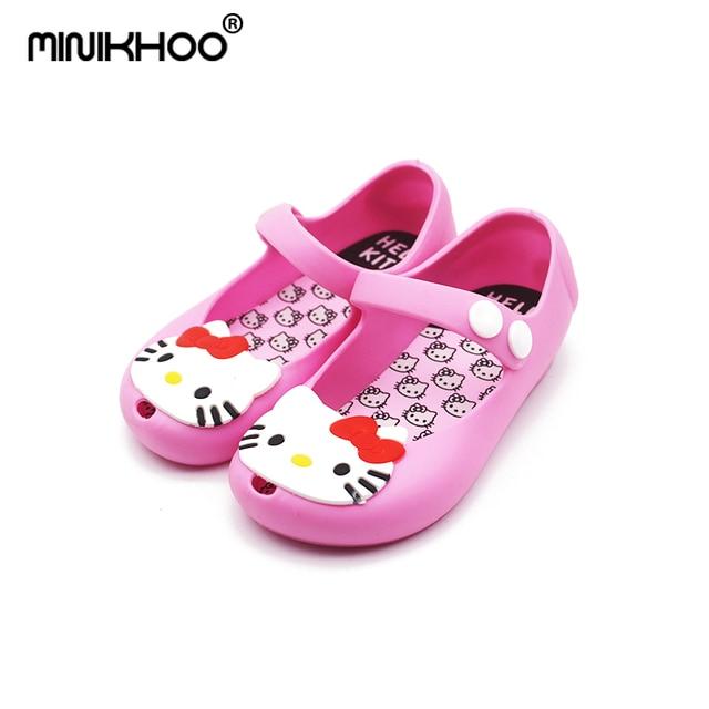 d77a93344 Mini Melissa 2018 Hello Kitty Shoes Melissa Jelly Sandals Girl Non-slip  Kids Sandals Toddler Mini Melissa Girls Beach Sandals