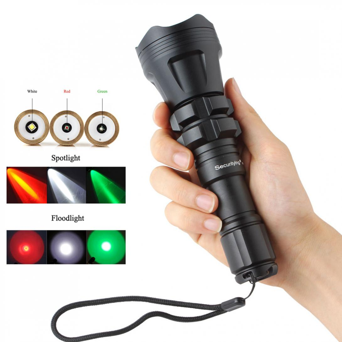SecurityIng Hunting LED Flashlight XM-L2 U4 Red/Green/White Led 1000LM 5 Modes Zoomable Waterproof Torch+Remote Pressure Switch uniquefire 1405 xpe green red white light led flashlight portable zoomable torch remote pressure to remote control lamp