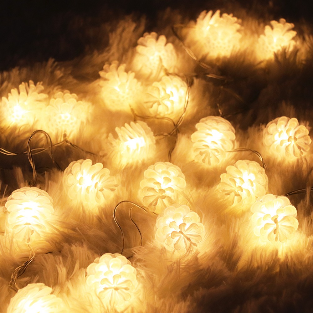2M 3M 5M 20 LEDs Christmas Lights Pinecone Garland Led String Light For New Year Holiday Home Party Decoration EU Plug JQ
