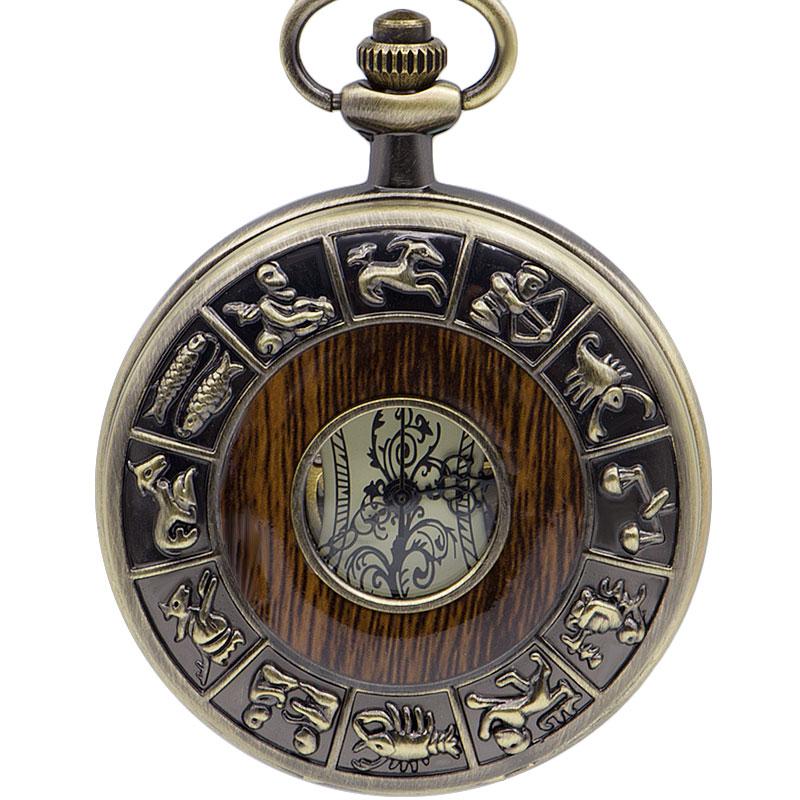 Antique Vintage Mechanical Pocket Watch Men Chinese Zodiac Fob Watch Men Chain Necklace Pendant Gift Reloj De Bolsillo