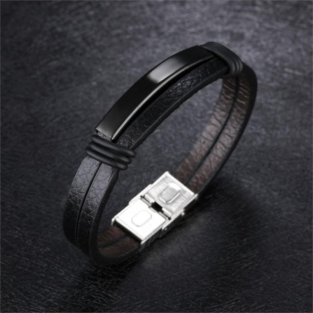 Laser Engrave Names Bracelet Gift for Family Friend Stainless Steel Black PU Leather Wrist Charm ID Bracelets Jewelry PH1195