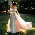 Элегантные длинные boho свадебные платья 2017 милая аппликация кружева тюль пляж женщины Свадебное Платье для свадьбы