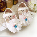 Children Shoes Sweet  Baby Girl First Walkers New 2016 Cute Pearls Flowers Soft Baby Shoes Princess Shoes Girls Flats#2714