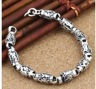 925 Silver Bracelet Men Friendship Bracelets Bead 8mm 19cm