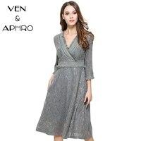 VA Lace Dress Women Spring Summer Vestidos Party Dresses Perspective Long Slim V Neck Dresses Vintage