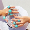 Bohemian Style Vintage Palace Anti Silver Heart Turquoise Rings Lucky Rings for Women Party Adjustable Free Shipping