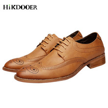 New Arrival Men's Wedding Shoes sapato social masculino Genuine Leather Flat Brogue Shoes Male Formal Shoes стоимость