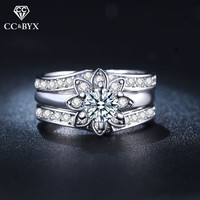Big Vintage Engagement Rings For Women Cubic Zirconia Floral Ring CZ Jewelry White Gold Color Anillos
