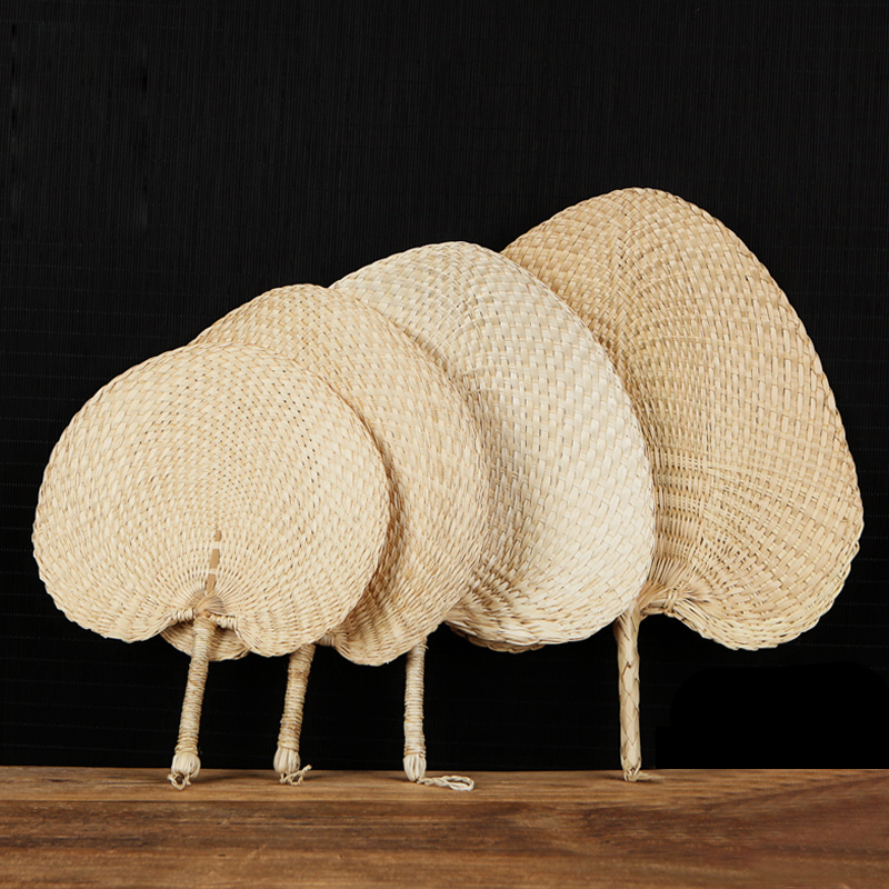 Saim Hand-woven Straw Fan Chinese Style Crafts Hand Fan Ancient Handmade Palm Leaf Fans Wedding Party Hand Fan Decorative A-289