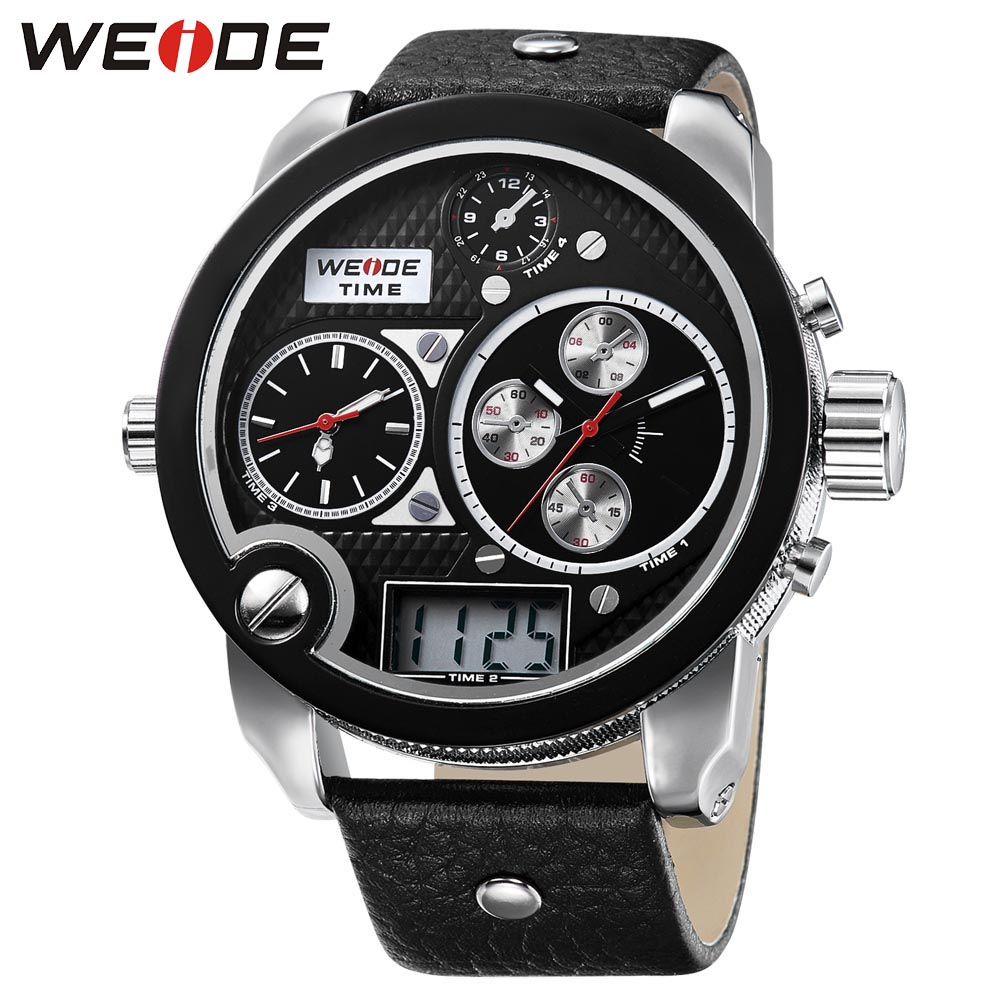 WEIDE Luxury Brand Sport Watches Multiple Time Zone Analog Disital Display 30m Waterproof Leather Strap With Men Sport Watch