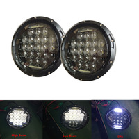 Pair Black 5D 7 INCH LED Headlight Kit 75W H4 Hi Low Beam With Daytime Running