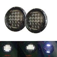 Pair Black 5D 7 INCH LED Headlight Kit 75W H4 Hi Low Beam With Daytime Running