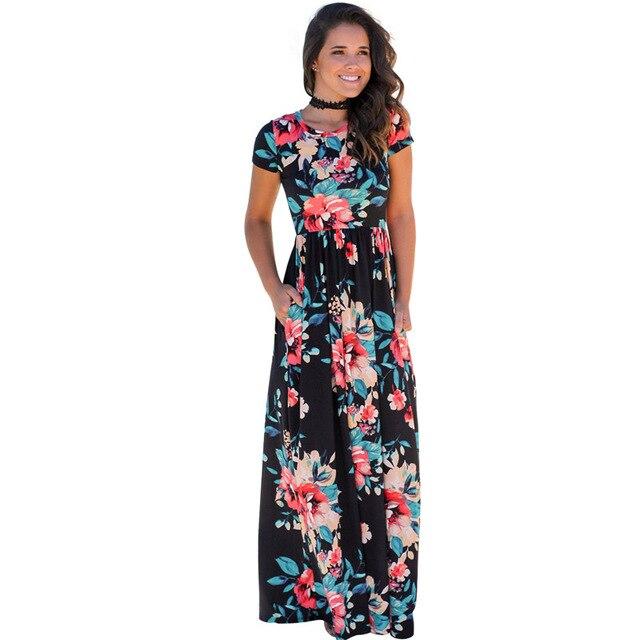 241c92f746 Women Summer 2018 Short Sleeve O Neck Beautiful Floral Print Fit Flare  Casual Party Evening Boho Beach Long Maxi Dress 203046