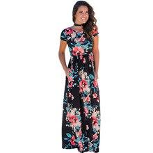 Las mujeres Del Verano 2018 de Manga Corta Cuello de O Estampado floral Hermoso Fit Llamarada Vestido de Boho Beach Maxi Largo Del Partido de Tarde Ocasional 203046