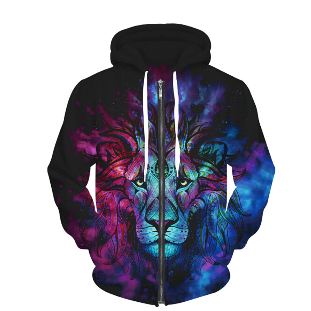 2017 New Animal Lion Zipper Hoodie 3D Harajuku Print Hooded Sweatshirts Women Men Winter Tops Sweats