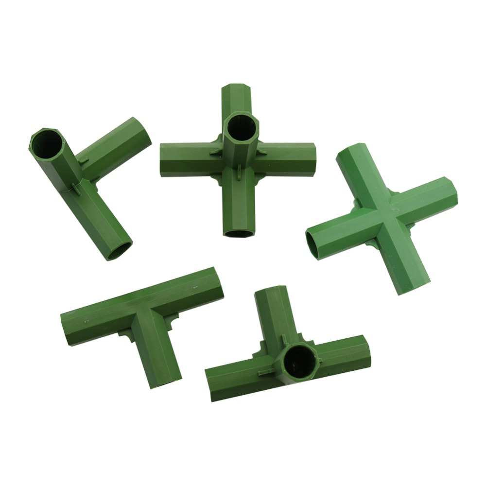 16mm Plant Stakes Edging Corner Connectors Plant Support Rod Awning Pole Pipe Joint 3-way, 4-way, 5-way Joints 4 Pcs