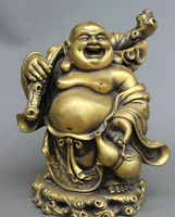 wholesale factory 10 Folk China Buddhism Bronze Gourd Happy Laugh Maitreya Buddha Money Bag Statue