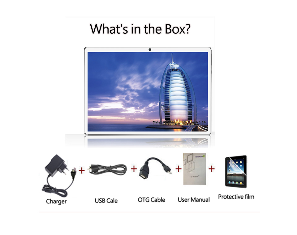 Tablet PC package contains what accessories