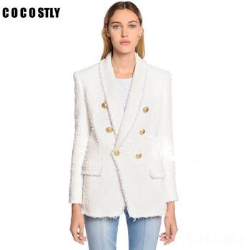 63e35588958 Зимнее пальто Для женщин твидовый пиджак Туника женский двубортный ...