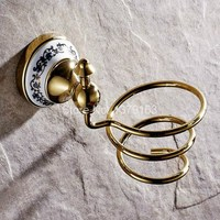 Bathroom Accessories Luxury Gold Color Brass Hair Dryer Holder Wall Mounted Dryer Holder Aba258