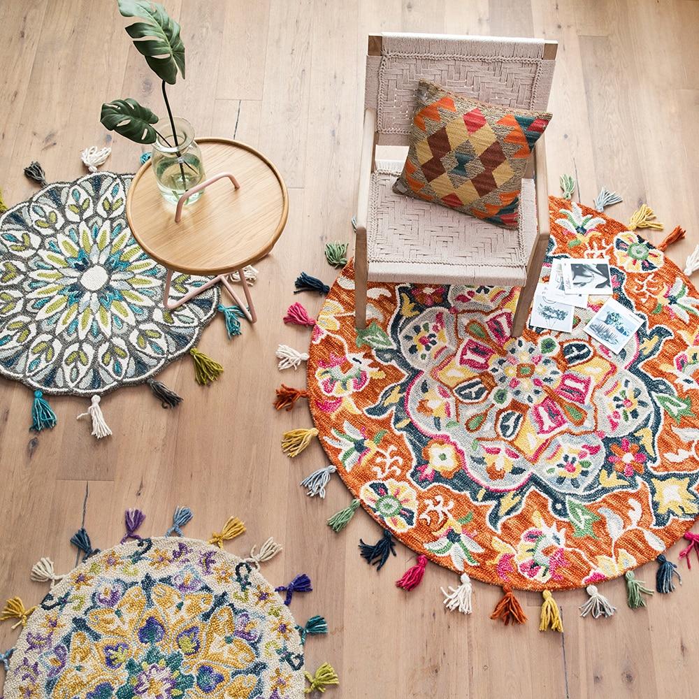 Tapis en laine fait main de pays américain rond de diamètre 120cm épaississement gland tapis de sol rond salon chambre