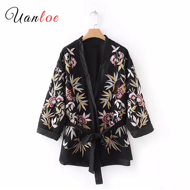 2018 Beauty Women V Neck Floral Embroidery Kimono Coat Bow Tie Belt Design Vintage Female Casual Chic Loose Outerwear Tops