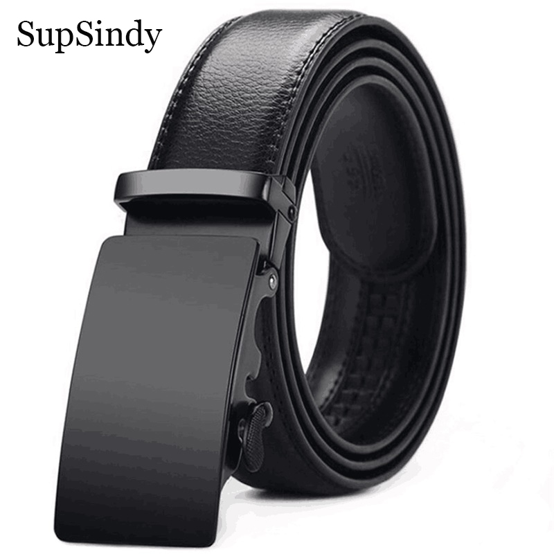 SupSindy Leather Belts for men Cowhide luxury Automatic Buckle Belt Casual genuine leather man's belt Jeans Waistband male strap