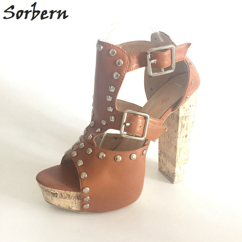 цена на Sorbern Brown Chunky Heel Platform Sandals High Heel Peep Toe Women Footwear Rivet Sandals Summer Shoes Big Size 43 Sandals
