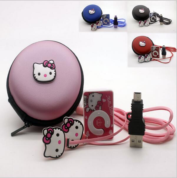 Hello Kitty MP3 Music Player Support TF Card With Earphone Mini USB Bag boys girls