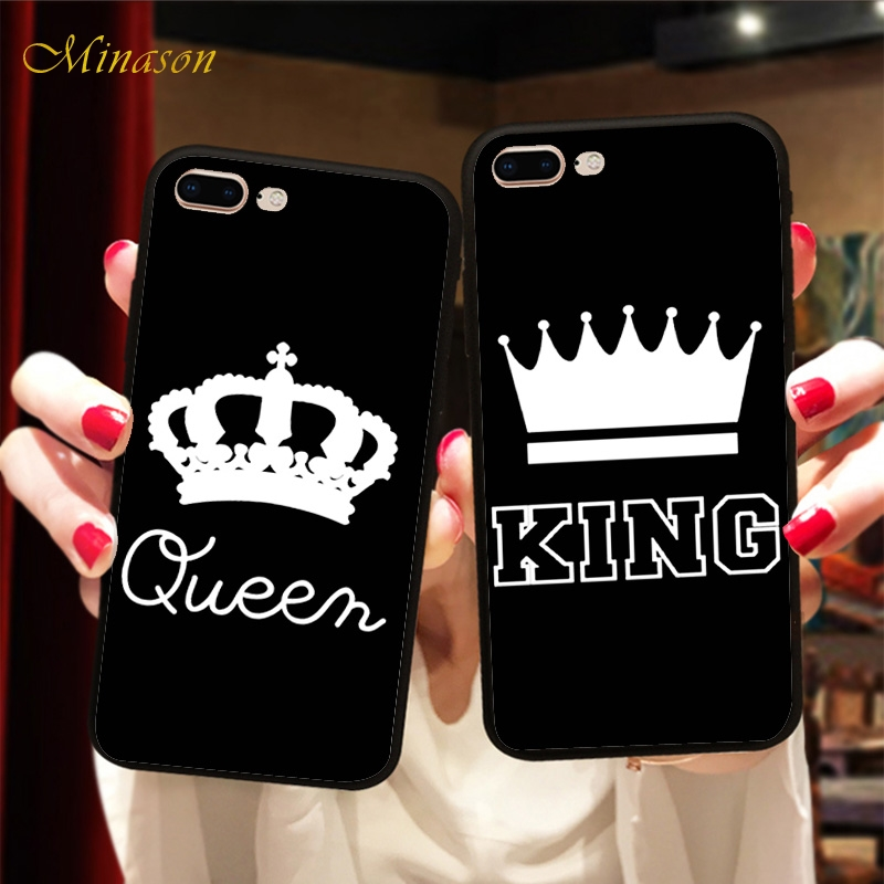 Minason King and Queen Couple Case Black Soft BFF Matching Cover For <font><b>Samsung</b></font> Galaxy S7 edge <font><b>S8</b></font> S9 <font><b>Capinha</b></font> <font><b>de</b></font> <font><b>Celular</b></font> image