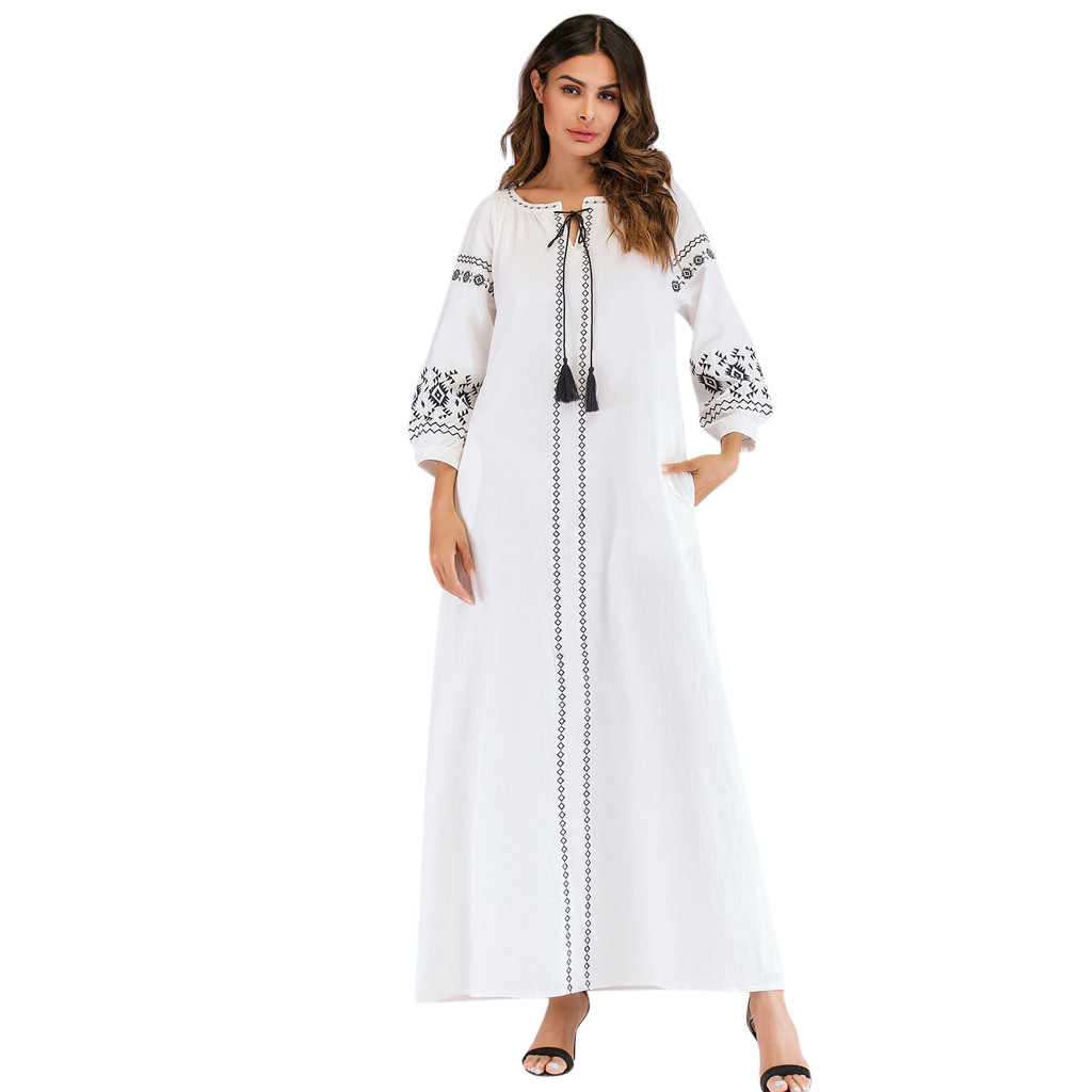 אישה מוסלמי ארוך שמלת נשים 2019 מוסלמי ארוך שרוול רקום ערבי בתוספת Szie שמלת האיסלאם Jilbab שמלת אמצע מזרח הרמדאן