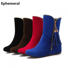 Ladies big size 34-50 autumn fur warm boots round toe High increasing heels botas fringe fashion women shoes brown black blue